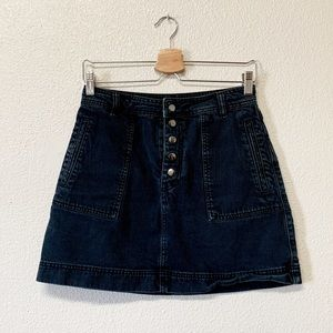 Free People Buttonfly Washed Black Denim Skirt